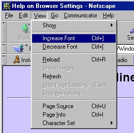 Location of font size settings in Netscape Navigator 4.7