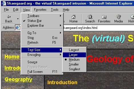 Location of font size settings in Microsoft Internet Explorer